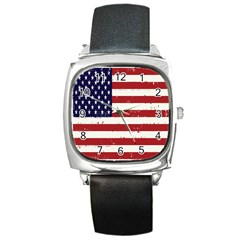 Flag United States United States Of America Stripes Red White Square Metal Watch by Simbadda