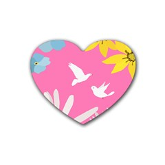 Spring Flower Floral Sunflower Bird Animals White Yellow Pink Blue Rubber Coaster (heart)  by Alisyart