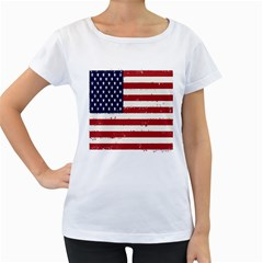 Flag United States United States Of America Stripes Red White Women s Loose-Fit T-Shirt (White) by Simbadda