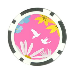 Spring Flower Floral Sunflower Bird Animals White Yellow Pink Blue Poker Chip Card Guard (10 Pack)