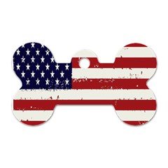 Flag United States United States Of America Stripes Red White Dog Tag Bone (two Sides) by Simbadda