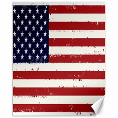 Flag United States United States Of America Stripes Red White Canvas 11  X 14   by Simbadda
