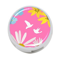 Spring Flower Floral Sunflower Bird Animals White Yellow Pink Blue 4 Port Usb Hub (two Sides)  by Alisyart