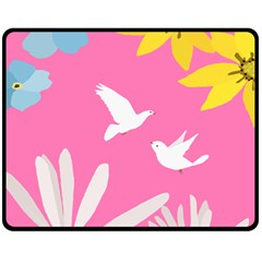 Spring Flower Floral Sunflower Bird Animals White Yellow Pink Blue Fleece Blanket (medium)  by Alisyart