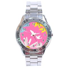 Spring Flower Floral Sunflower Bird Animals White Yellow Pink Blue Stainless Steel Analogue Watch by Alisyart