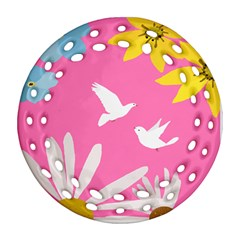 Spring Flower Floral Sunflower Bird Animals White Yellow Pink Blue Round Filigree Ornament (two Sides) by Alisyart