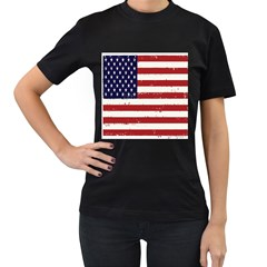 Flag United States United States Of America Stripes Red White Women s T Shirt (black) by Simbadda