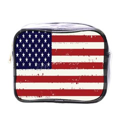 Flag United States United States Of America Stripes Red White Mini Toiletries Bags by Simbadda