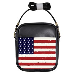 Flag United States United States Of America Stripes Red White Girls Sling Bags by Simbadda