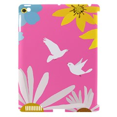 Spring Flower Floral Sunflower Bird Animals White Yellow Pink Blue Apple Ipad 3/4 Hardshell Case (compatible With Smart Cover) by Alisyart