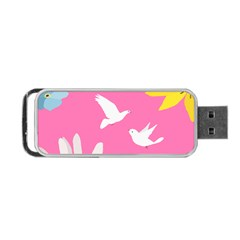 Spring Flower Floral Sunflower Bird Animals White Yellow Pink Blue Portable Usb Flash (one Side) by Alisyart