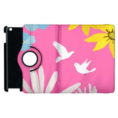 Spring Flower Floral Sunflower Bird Animals White Yellow Pink Blue Apple Ipad 3/4 Flip 360 Case by Alisyart