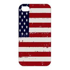 Flag United States United States Of America Stripes Red White Apple Iphone 4/4s Premium Hardshell Case by Simbadda