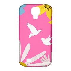 Spring Flower Floral Sunflower Bird Animals White Yellow Pink Blue Samsung Galaxy S4 Classic Hardshell Case (pc+silicone) by Alisyart