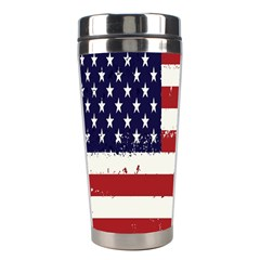 Flag United States United States Of America Stripes Red White Stainless Steel Travel Tumblers by Simbadda