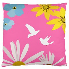 Spring Flower Floral Sunflower Bird Animals White Yellow Pink Blue Standard Flano Cushion Case (two Sides) by Alisyart