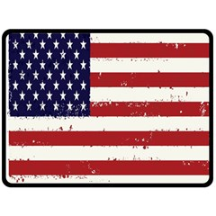 Flag United States United States Of America Stripes Red White Double Sided Fleece Blanket (large)  by Simbadda