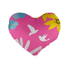 Spring Flower Floral Sunflower Bird Animals White Yellow Pink Blue Standard 16  Premium Flano Heart Shape Cushions by Alisyart