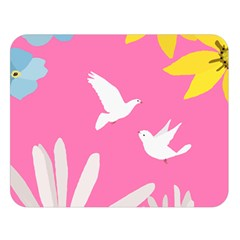 Spring Flower Floral Sunflower Bird Animals White Yellow Pink Blue Double Sided Flano Blanket (large)  by Alisyart