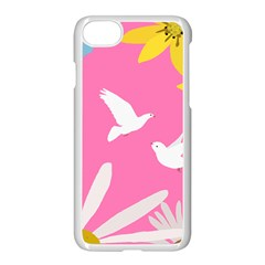 Spring Flower Floral Sunflower Bird Animals White Yellow Pink Blue Apple Iphone 7 Seamless Case (white) by Alisyart