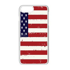 Flag United States United States Of America Stripes Red White Apple Iphone 7 Plus White Seamless Case by Simbadda
