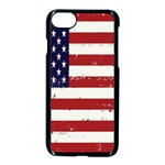 Flag United States United States Of America Stripes Red White Apple iPhone 7 Seamless Case (Black) Front