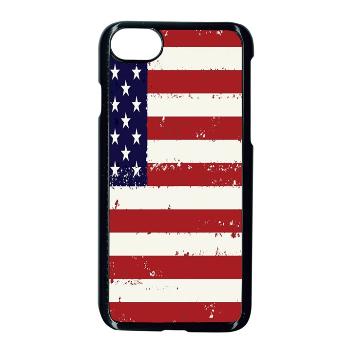 Flag United States United States Of America Stripes Red White Apple iPhone 7 Seamless Case (Black)