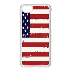 Flag United States United States Of America Stripes Red White Apple Iphone 7 Seamless Case (white) by Simbadda