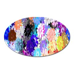 Flowers Colorful Drawing Oil Oval Magnet by Simbadda