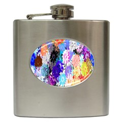 Flowers Colorful Drawing Oil Hip Flask (6 Oz) by Simbadda