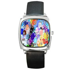 Flowers Colorful Drawing Oil Square Metal Watch by Simbadda