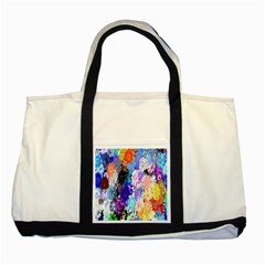Flowers Colorful Drawing Oil Two Tone Tote Bag by Simbadda