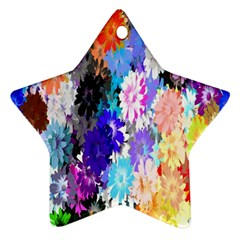 Flowers Colorful Drawing Oil Star Ornament (two Sides) by Simbadda