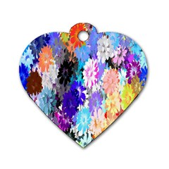 Flowers Colorful Drawing Oil Dog Tag Heart (one Side) by Simbadda