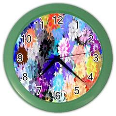 Flowers Colorful Drawing Oil Color Wall Clocks by Simbadda