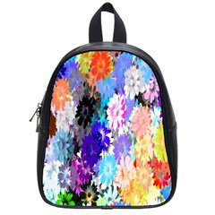 Flowers Colorful Drawing Oil School Bags (small)  by Simbadda