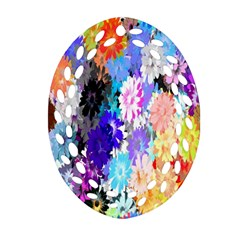 Flowers Colorful Drawing Oil Oval Filigree Ornament (two Sides) by Simbadda