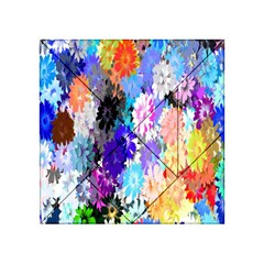 Flowers Colorful Drawing Oil Acrylic Tangram Puzzle (4  X 4 ) by Simbadda