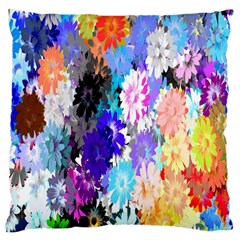 Flowers Colorful Drawing Oil Large Cushion Case (one Side) by Simbadda