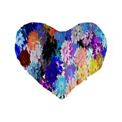 Flowers Colorful Drawing Oil Standard 16  Premium Heart Shape Cushions by Simbadda