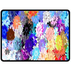 Flowers Colorful Drawing Oil Double Sided Fleece Blanket (large)  by Simbadda