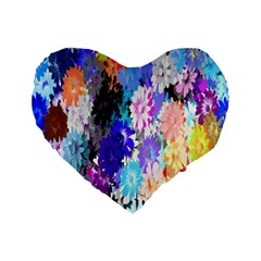 Flowers Colorful Drawing Oil Standard 16  Premium Flano Heart Shape Cushions by Simbadda