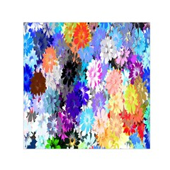 Flowers Colorful Drawing Oil Small Satin Scarf (square) by Simbadda