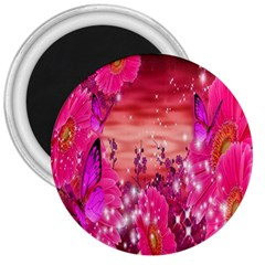 Flowers Neon Stars Glow Pink Sakura Gerberas Sparkle Shine Daisies Bright Gerbera Butterflies Sunris 3  Magnets by Simbadda