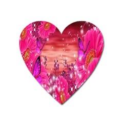 Flowers Neon Stars Glow Pink Sakura Gerberas Sparkle Shine Daisies Bright Gerbera Butterflies Sunris Heart Magnet by Simbadda
