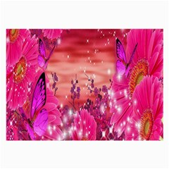 Flowers Neon Stars Glow Pink Sakura Gerberas Sparkle Shine Daisies Bright Gerbera Butterflies Sunris Large Glasses Cloth (2 Side) by Simbadda