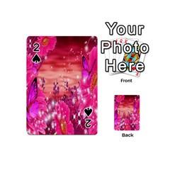 Flowers Neon Stars Glow Pink Sakura Gerberas Sparkle Shine Daisies Bright Gerbera Butterflies Sunris Playing Cards 54 (mini)  by Simbadda