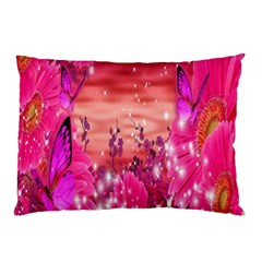 Flowers Neon Stars Glow Pink Sakura Gerberas Sparkle Shine Daisies Bright Gerbera Butterflies Sunris Pillow Case (two Sides) by Simbadda