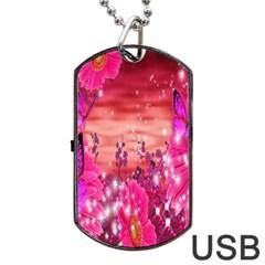 Flowers Neon Stars Glow Pink Sakura Gerberas Sparkle Shine Daisies Bright Gerbera Butterflies Sunris Dog Tag Usb Flash (one Side) by Simbadda