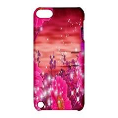 Flowers Neon Stars Glow Pink Sakura Gerberas Sparkle Shine Daisies Bright Gerbera Butterflies Sunris Apple Ipod Touch 5 Hardshell Case With Stand